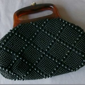 Vintage Beaded Purse Clutch Black Small